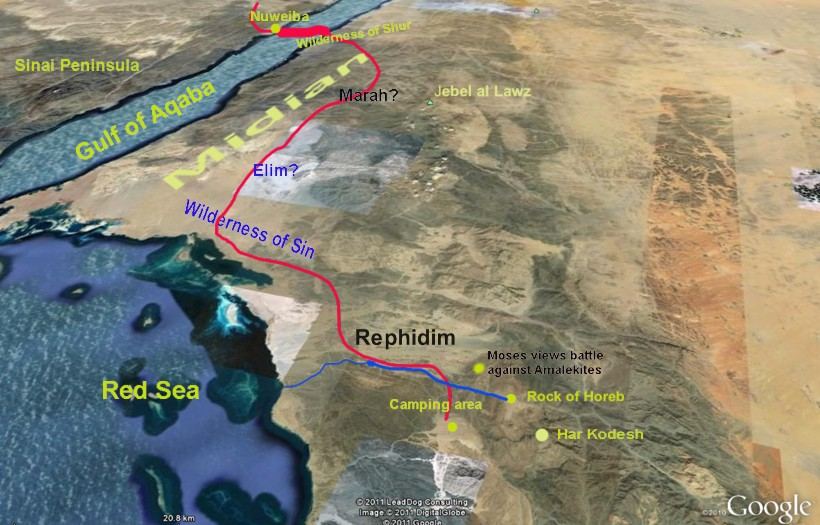 Overview of route from beach to Mount Sinai