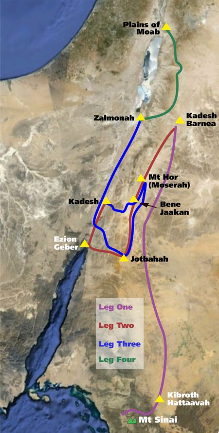 Route From Mount Sinai to Kadesh Barnea and the Promised Land